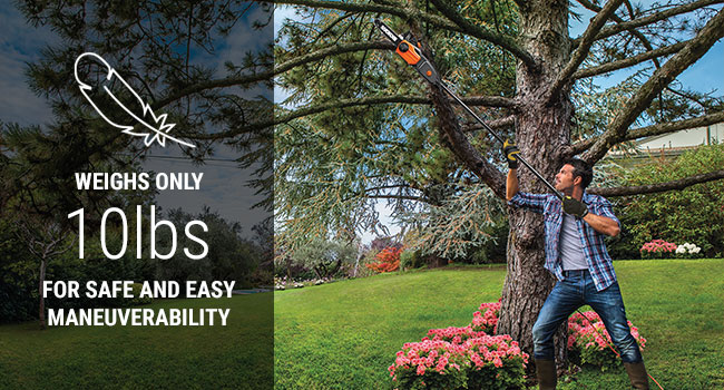 At only 10 lbs you can hold this pole saw up high for as long as you need to to get the job done