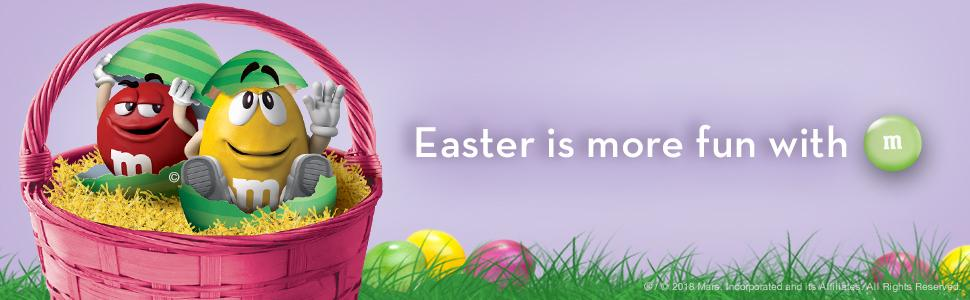 Fill your gift baskets with small Easter toys and chocolate candies by M&M'S Candy.