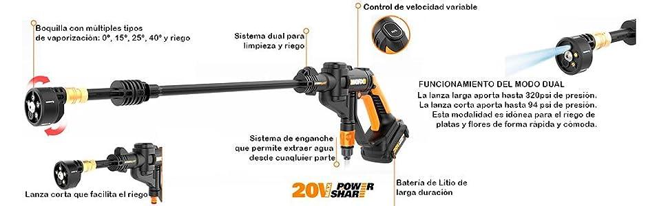 Worx WG629E Hidrolimpiadora a Presión, 20 V, Negro: Amazon.es ...