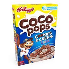 Kellogg's Coco Pops Cookies & Cream Chex cereal box