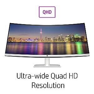 qhd resolution HP 34f Curved Display
