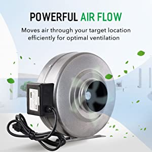 iPower 4 Inch 190CFM Inline Duct Ventilation Fan HVAC Exhaust Blower for Grow Tent