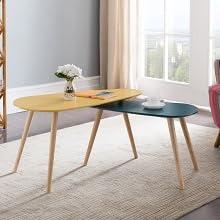 Alsapan Galet Lot de 2 Tables Basses Gigognes Scandinave Vintage Noir Mat  Piétement Pin Massif 60-45 cm x 40 x 40 cm