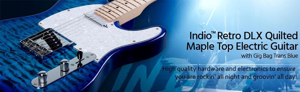Amazon.com: Monoprice Indio Retro DLX Quilted Maple Top Electric ... : blue quilted maple - Adamdwight.com