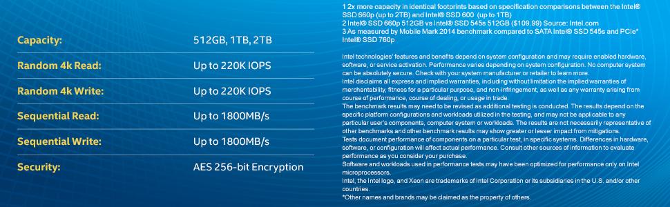 Intel ® SSDPEKNW010T8X1 Intel SSD 660P Series