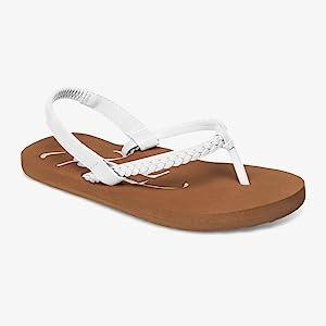 roxy little girls flip flops, sandals, beach shoes, summer, billabong, sanuk, reef