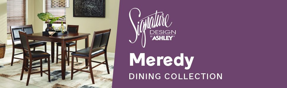 Amazon Com Signature Design By Ashley Meredy Counter Height Dining Room Table And Bar Stools Set Of 5 Brown Table Chair Sets