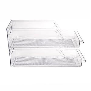 Mind Reader SCANORG2-CLR Pop//Soda Can Dispenser Storage Organizer Bin for Kitchen Pantry Clear Cabinets Countertops Refrigerator 2 Pack