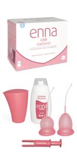 Enna Cycle - 2 Copas menstruales, Aplicador y Caja ...