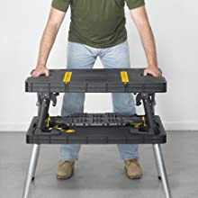 fold the center support on the keter folding work table