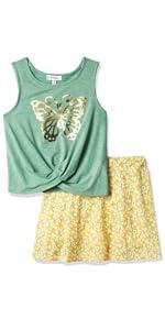 girls t-shirt; girls top, girl skort set, girls school skirt, tank top, teen, tween