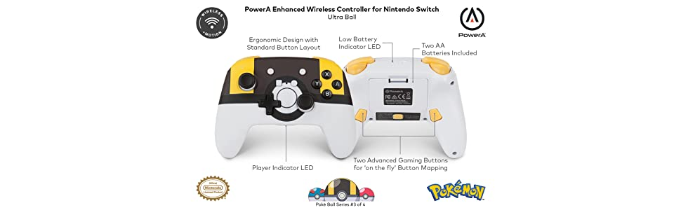 PowerA - Mando inalámbrico mejorado Pokémon Ultra Ball (Nintendo ...