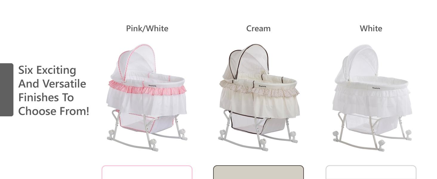 white bassinet,grey bassinet,pink bassinet,black bassinet,blue bassinet,gender neutral bassinet,safe