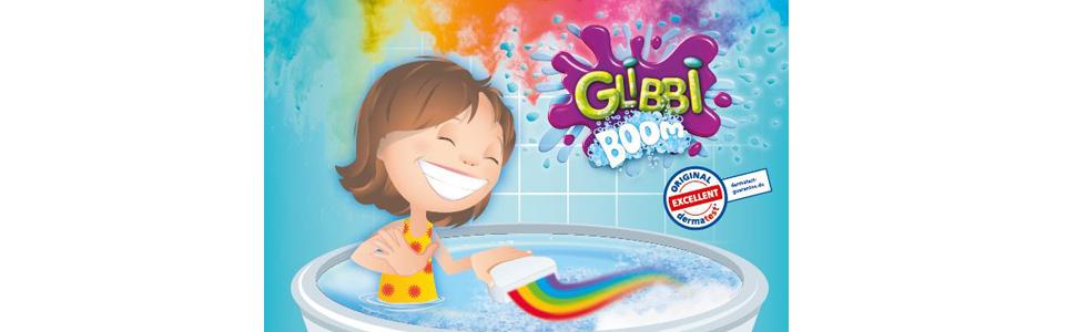 Badebombe ab 3 Jahren Simba 105953451 Glibbi Boom Badewannenspielzeug Magischer Regenbogen Effekt Wolkenform
