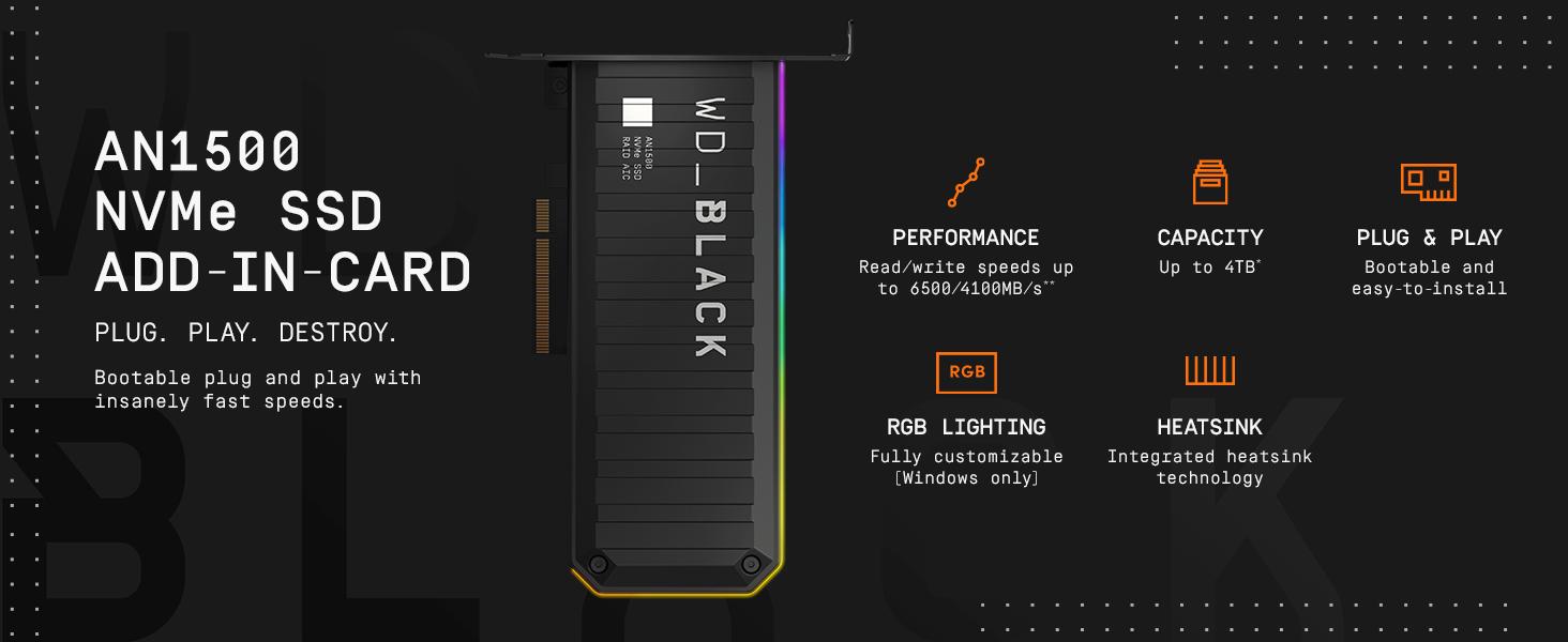 דיסק קשיח WD Black AN1500 1TB NVMe SSD PCIE