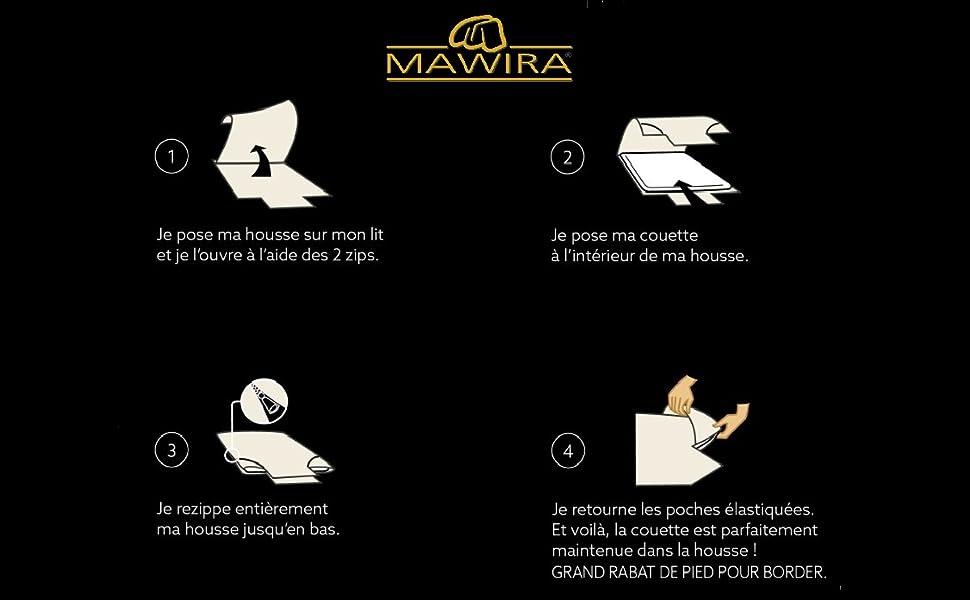 Illustration Mawira, parure zippée Mawira, housse de couette zippée mawira