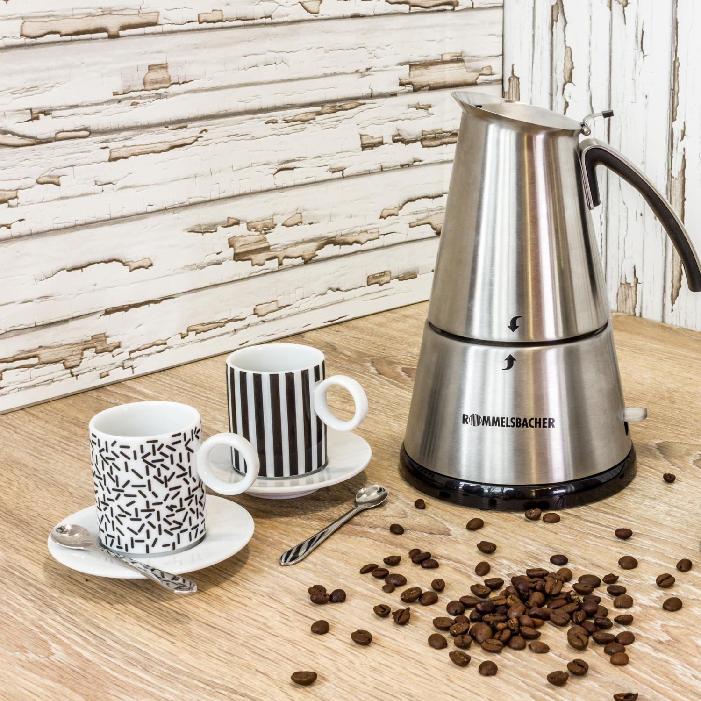 rommelsbacher eko 366 e espressokocher elektrisch 3 6 tassen 350ml f llmenge 2 edelstahl. Black Bedroom Furniture Sets. Home Design Ideas