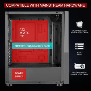 motherbaord support, atx, m-atxm itx graphic card, power supply