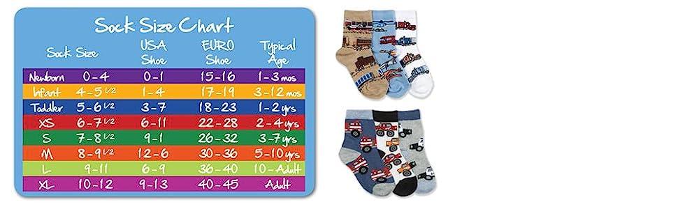 Jefferies Socks, boys, kids, size guide