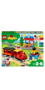 LEGO 10874 DUPLO Steam Train for Toddlers Colour-Coded Railway Set for Preschool Kids 2-5 Battery