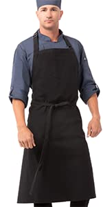 Chef Works Unisex Rockford Chefs Bib Apron, Steel Gray