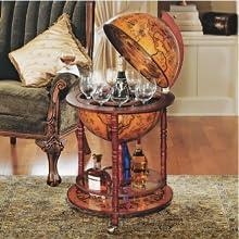 Design Toscano Réplique Italienne Globe Terrestre du XVIe siècle Armoire Bar Chariot sur Roues