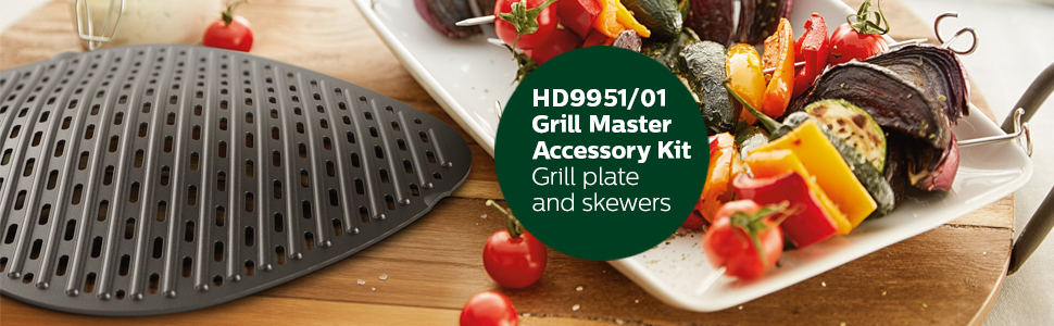 Amazon Com Philips Kitchen Appliances Grill Master Accessory Kit With Grill Pan And Skewers For Philips Airfryer Xxl Models Kitchen Dining