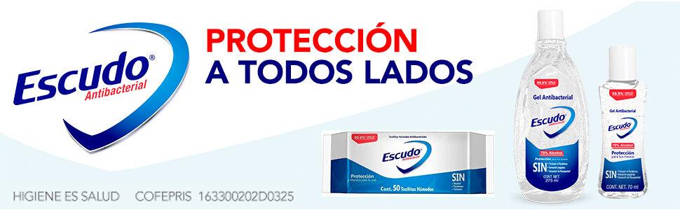 Escudo, Toallitas Escudo, Gel escudo, Escudo Antibacterial, Toallitas Húmedas, Gel desinfectante