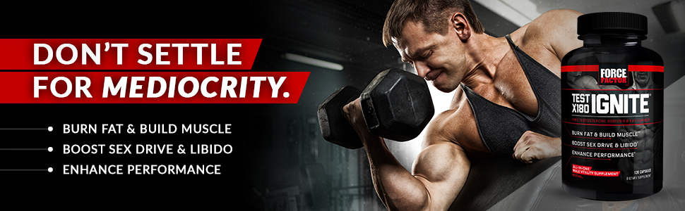 Total testosterone boosting thermogenic for men build lean muscle 180x test ignite force factor