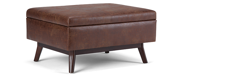 Fabulous Simpli Home Axcot267S Dsb Owen 34 Inch Wide Mid Century Modern Rectangle Coffee Table Storage Ottoman In Distressed Saddle Brown Faux Air Leather Ibusinesslaw Wood Chair Design Ideas Ibusinesslaworg
