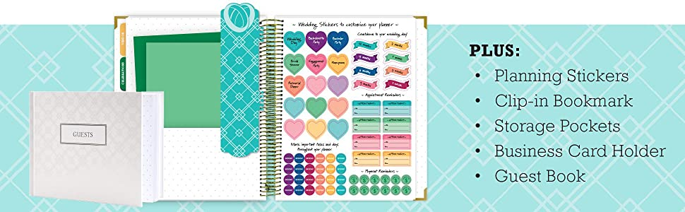 Wedding Planner Gift Set for The Bride to Be: 9x11 Hardcover Wedding Planner and Organizer, Gift Box, Guest Book, Bookmark, Planning Stickers, ...