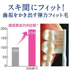 隙間の歯垢をしっかり落とす「弾力フィット毛」
