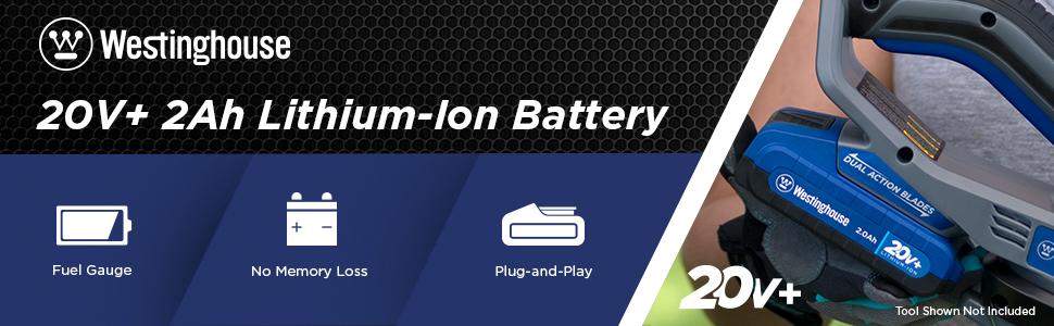 westinghouse 20V+ 20v lithium ion battery pack 4ah 4.0ah cordless lawn garden tool gauge indicator