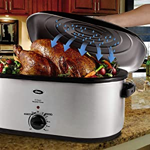 Oster Roaster Oven with Self-Basting Lid, 22-Quart, Stainless Steel CKSTRS23-SB-D