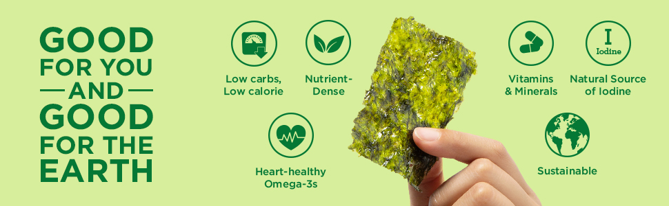 Organic Roasted Seaweed Sea Salt, gimme, vitamin, High fiber,  healthy snacks, low carb, keto