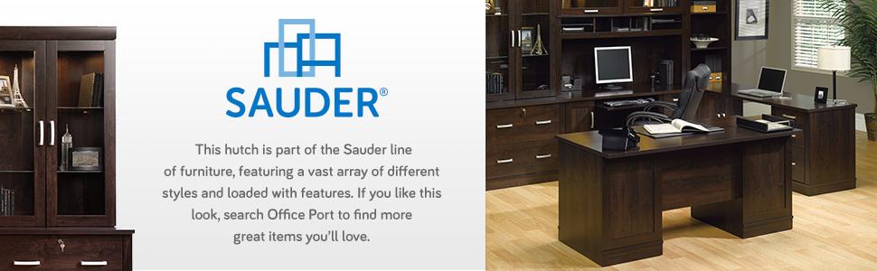 408294 Sauder Hutch for Lateral File Office Port Dark Alder Finish