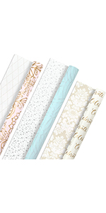 Elegant light pink, blue, cream, gold and gray wrapping paper for Mother's Day, weddings and babies