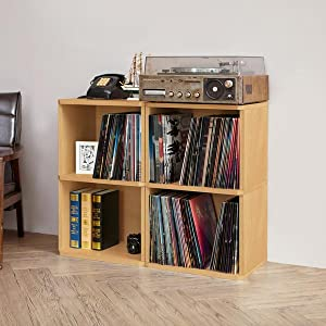 way basics vinyl record shelf way basics vinyl record bookcase way basics vinyl record & Amazon.com: 2-Shelf Vinyl Record Storage Cube and LP Record Album ...