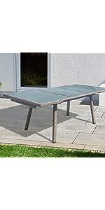 Gartentisch ausziehbar rattan  greemotion Tisch Bari grau, Esstisch mit Spraystoneglas-Platte ...