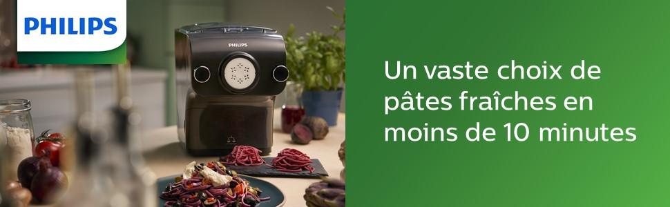 Machine à pâtes automatique Philips, balance intégrée, 8 disques de forme, couleur noire
