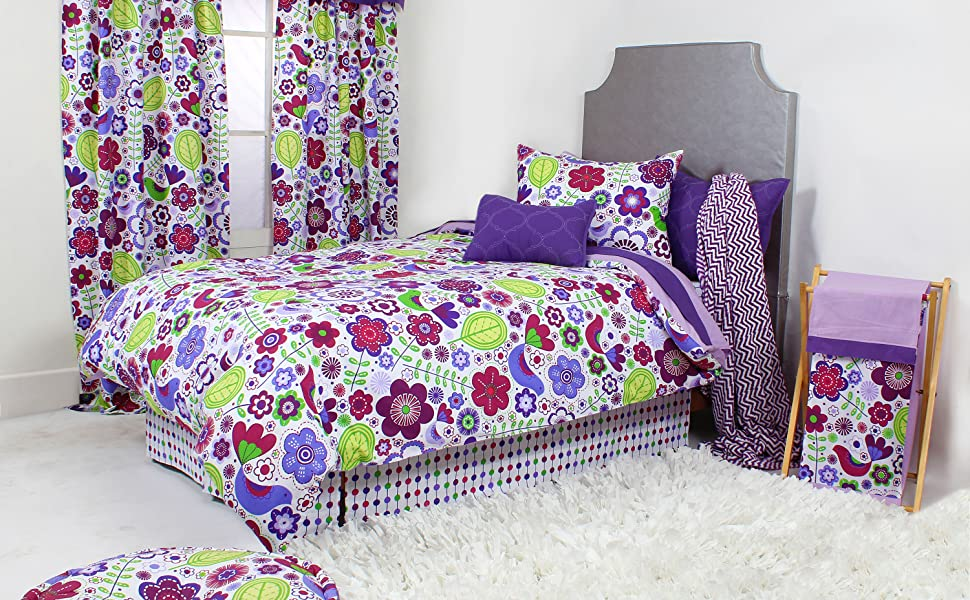 Bacati Botanical Purple/Multicolor Toddler Decor
