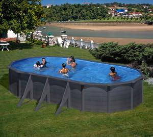 Piscina desmontable Gre Granada ovalada Grafito - 730 x 375 cm ...