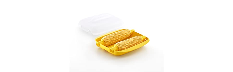 Lekue Microwave Corn Cooker/Corn Steamer. Easy & Fast Way To Cook Corn In The Microwave, 2 Corn, Yellow