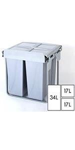 68L triple kitchen waste bin