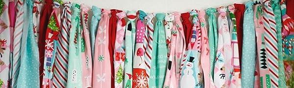 fabric garland, no sew, diy, projects, Christmas, festive, decor, children, fun, kid friendly