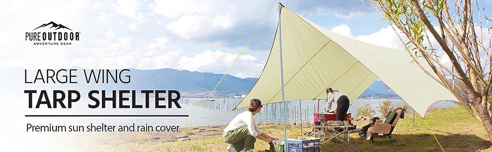 Large Wing Tarp Shelter, premium sun shelter and rain cover