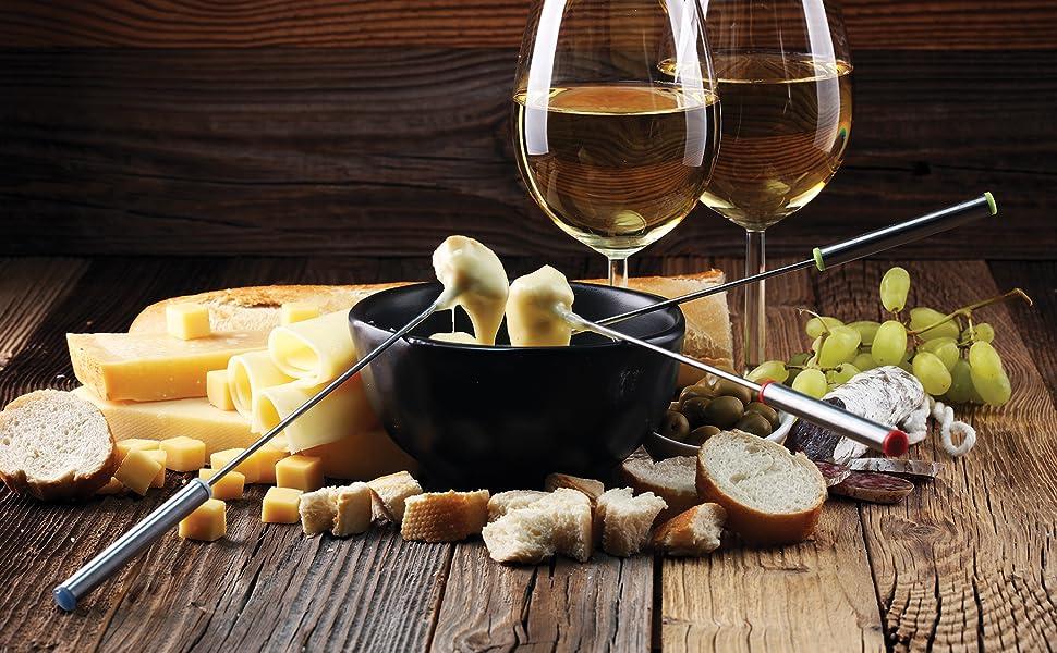 fondue set; fondue forks; chocolate dipping forks; stainless steel fondue forks; fondue