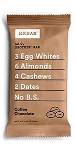 Coffee bar, chocolate protein, protein bar, rxbar, rxbars, protein bars, health bar, protein