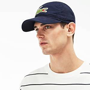 f8303354 Lacoste Men's Classic Big Croc Gabardine Cap, Black, One Size at ...