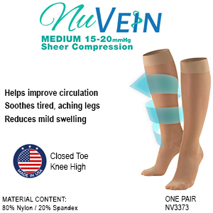 NuVein Womens sheer compression stockings closed-toe beige features